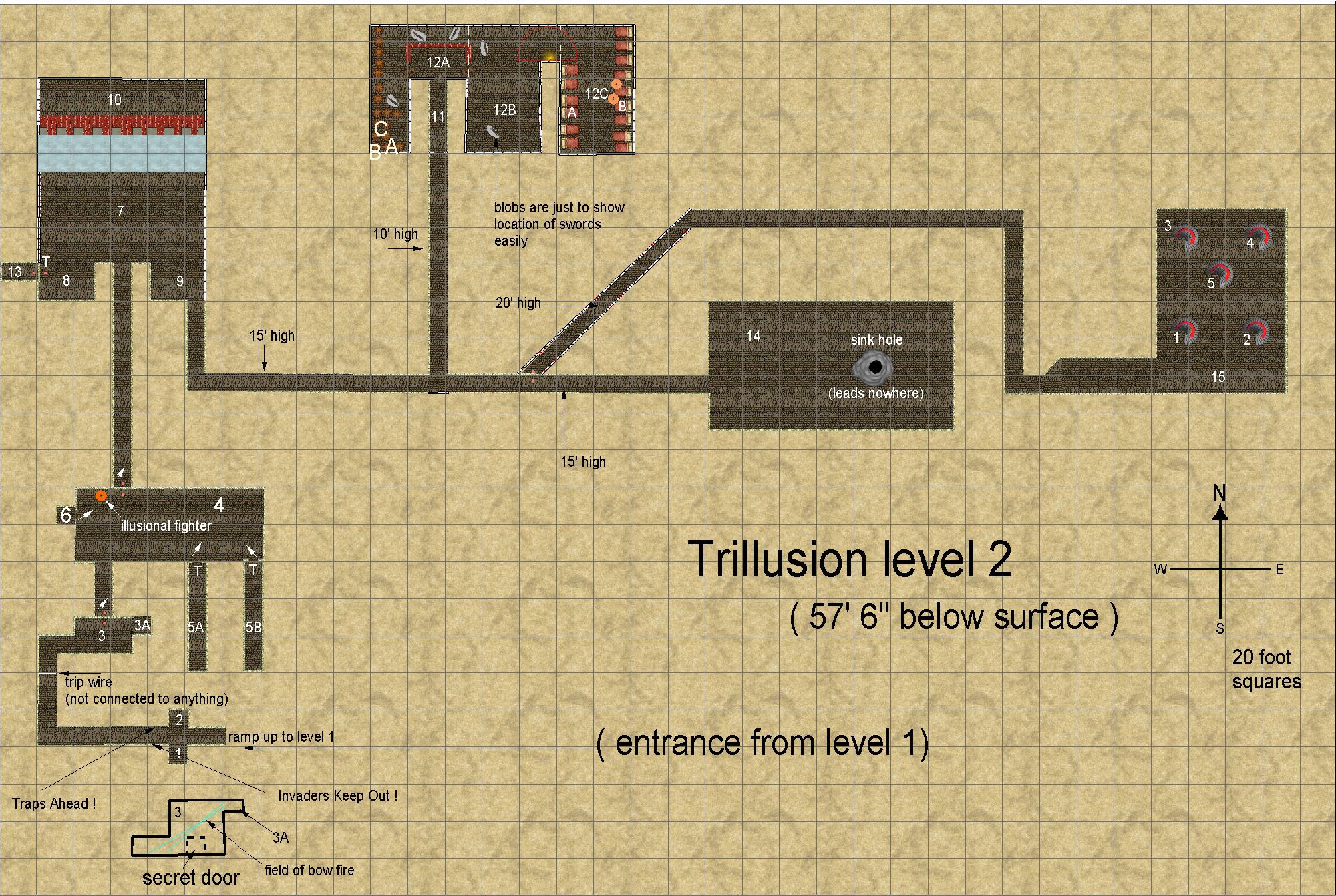 map of Trillusion Castle,  level 2, 450 x 300